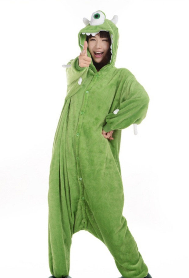 7d5ea431f281 Monsters Inc Green Mike Wazowski Character Adult Pajama Kigurumi Cosplay Costume  Onesie Sleepwear Suit